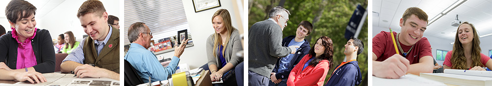 A band of photos depicting faculty and students interacting