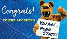 Nittany Lion mascot congratulating accepted students