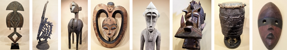 various items of African art on display in the gallery