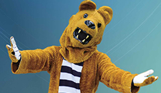 Nittany Lion mascot welcoming visitors with open arms for the Penn State Days Open House