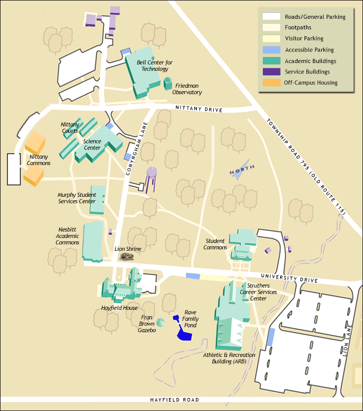 Penn State Wilkes-Barre campus map (2015)