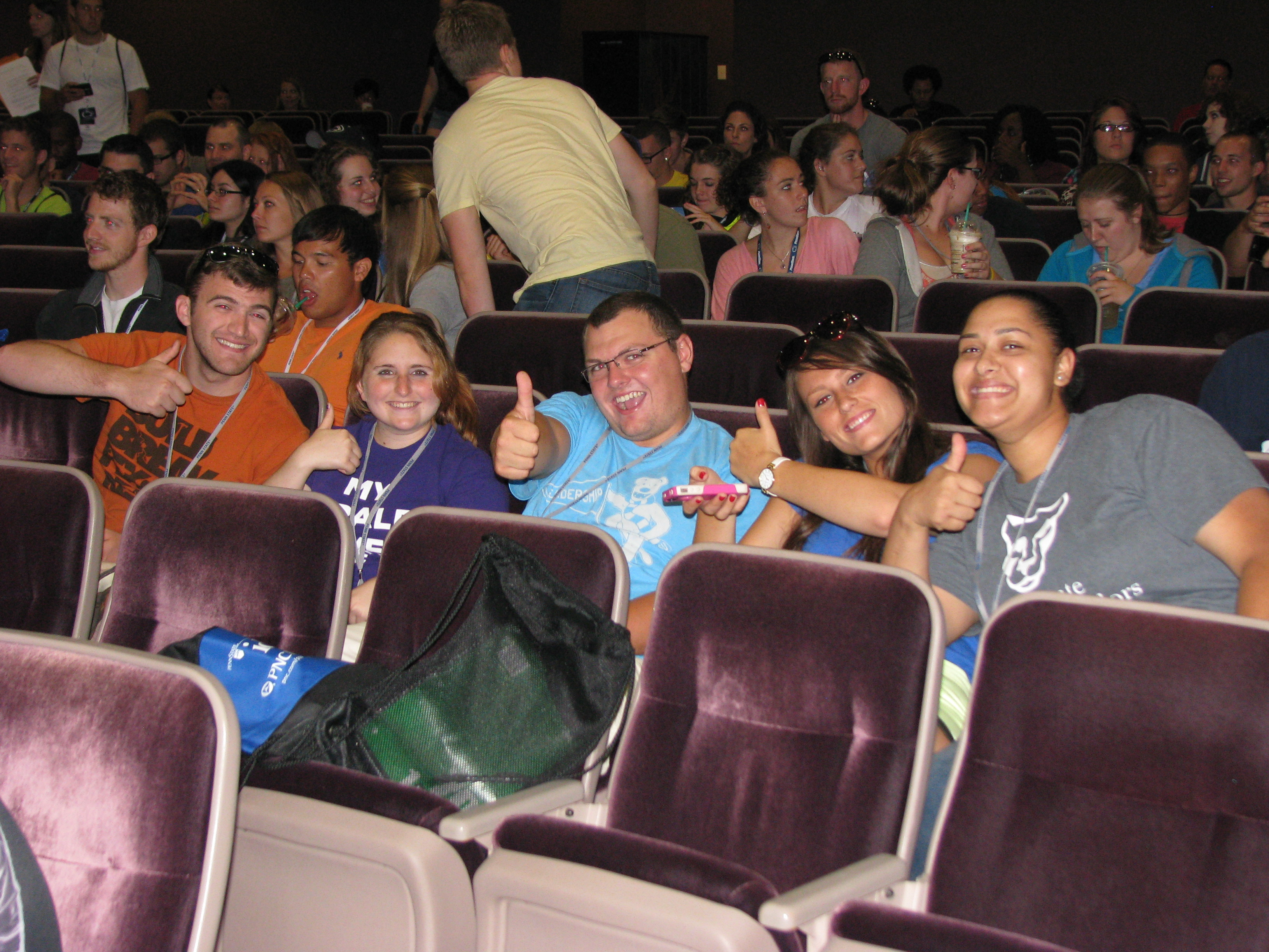 Students attending a movie sponsored by the SGA
