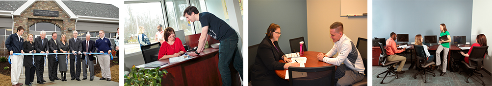 four images of students utilizing the new Career Services Center