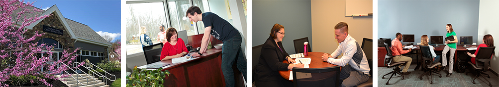 montage of students working in the Career Services Center