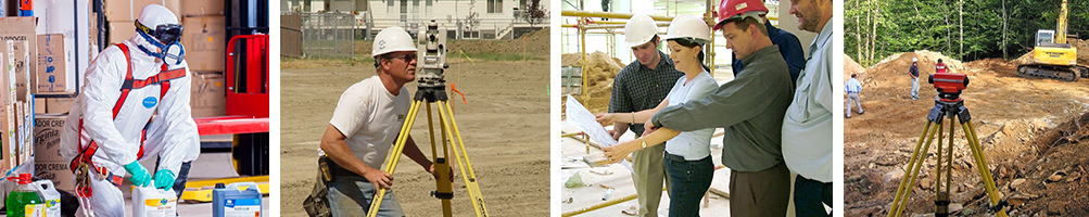 a man in a hazmat suit, a surveyor, men and women looking at a floor plan, and a construction site