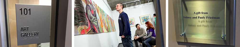 Student viewing artwork in the Friedman Art Gallery
