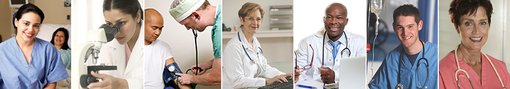 a diverse montage of medical professionals