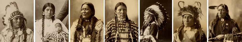 a sequence of head shots of Native Indian men and women