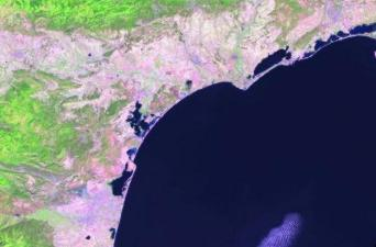 Satellite image of the western Mediterranean over Barcelona, Spain and southern France