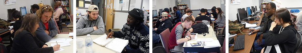 Students and tutors working together in the Learning Center