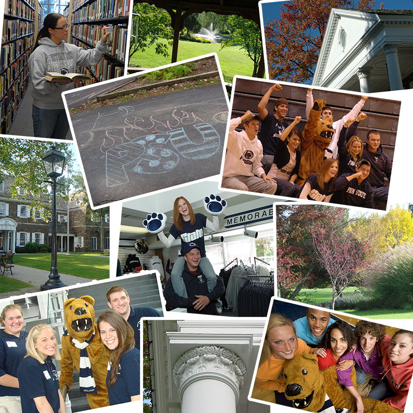 collage of students engaged in activities and examples of campus architecture