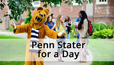Nittany Lion mascot welcoming visitors with open arms for the Be a Penn Stater for a Day event