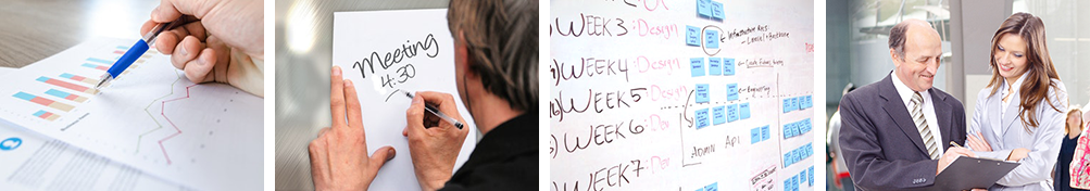 project management scenes: meetings, charts, and schedules