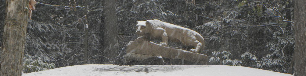 The Nittany Lion shrine in a snowstorm