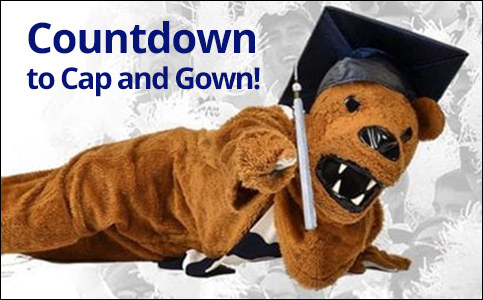 Nittany Lion mascot wearing mortarboard: Countdown to Cap and Gown!