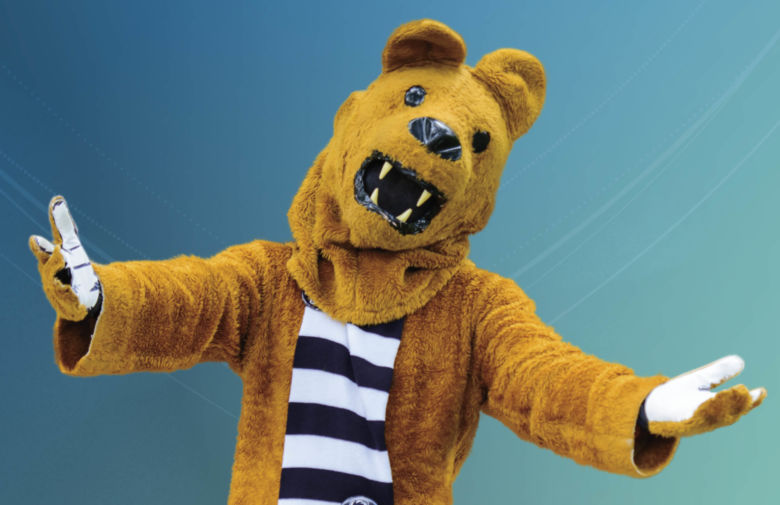 Penn State Nittany Lion Mascot making an open-armed, welcoming gesture