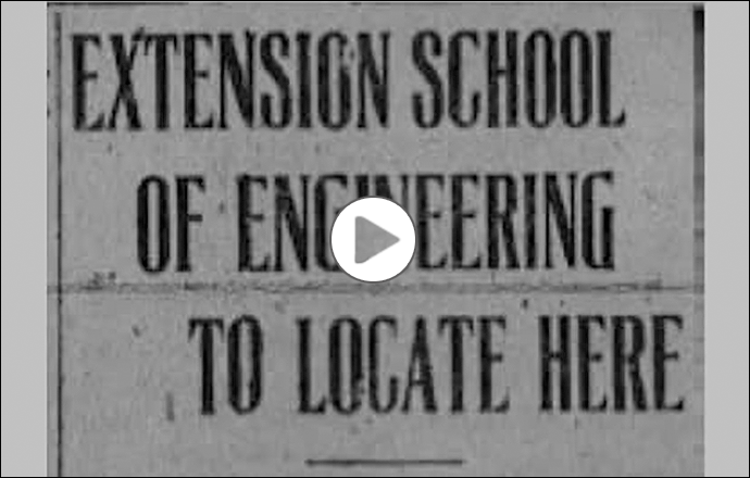 "Newspaper clipping entitled ""Extension School of Engineering to Locate Here"""