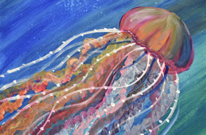 painting of an underwater jellyfish by artist MaryLou Kolojeski