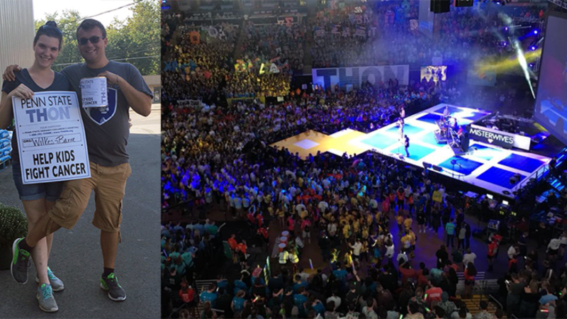 Penn State Wilkes-Barre THON dancers and an elevated view of last year's crowded THON dance floor