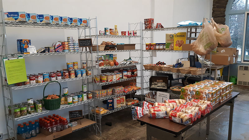 Food on the shelves at the food bank on campus