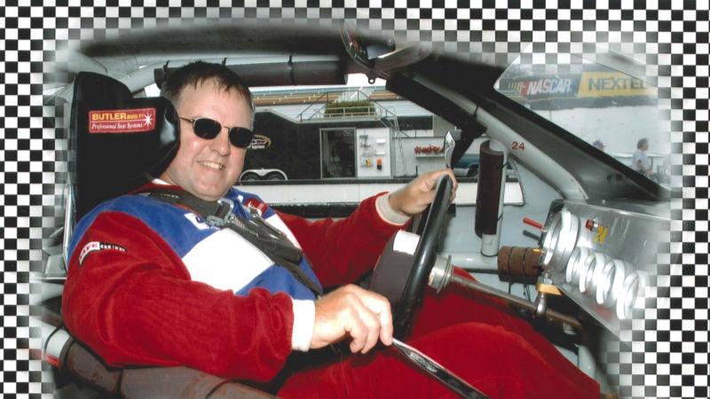 Tony Shipula in a NASCAR car