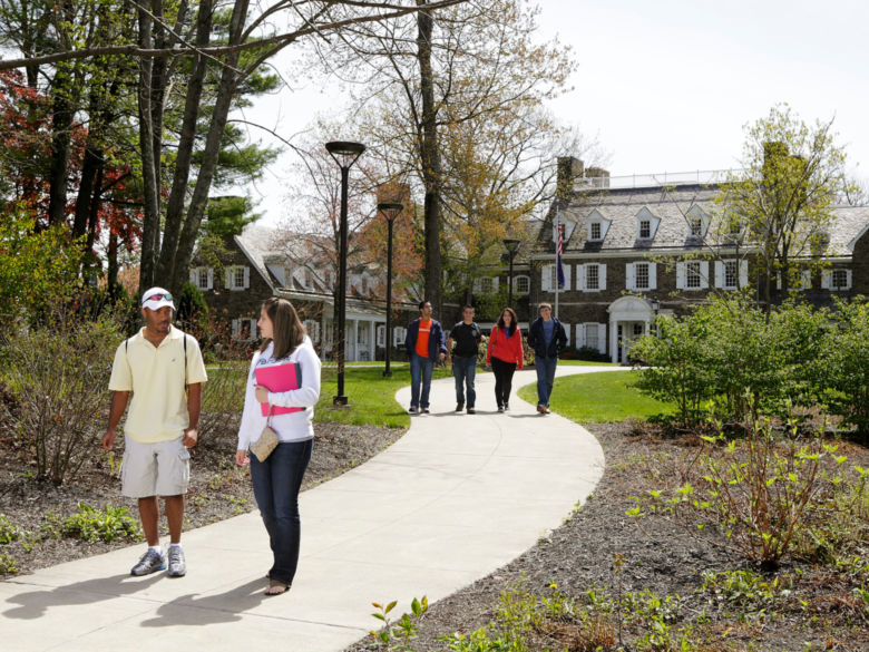 Students walking along path on campus