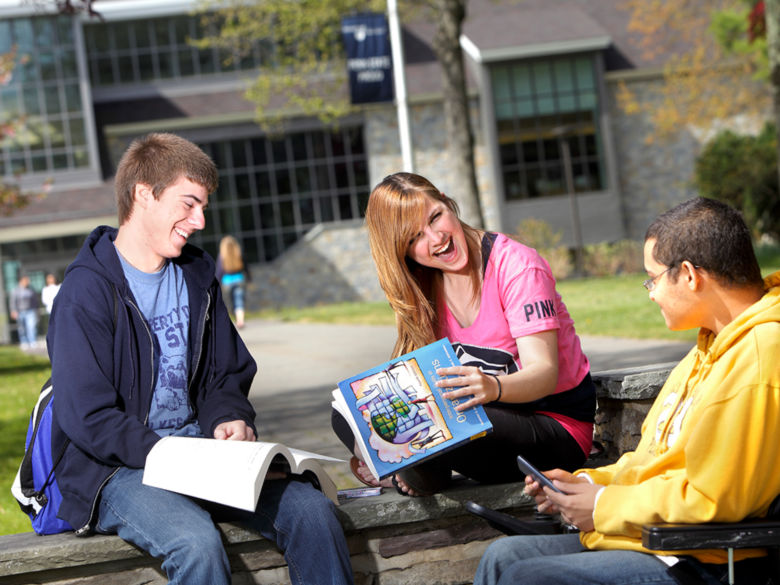 Group of students studying together outdoors on a sunny day