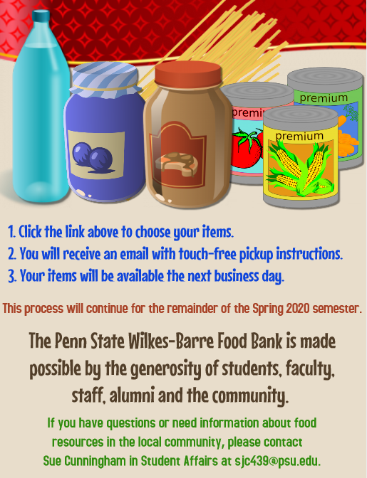 A description of how to get food from the campus food bank.