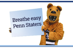 The Nittany Lion mascot tells Penn Staters to breathe easy