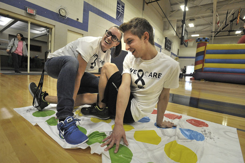 Staff and students use Twister as a stress reliever