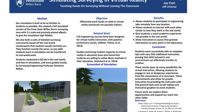 """Simulating Surveying in Virtual Reality: Teaching Hands On Surveying Without Leaving The Classroom"""