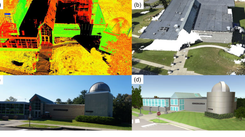 Images taken of buildings on Penn State Wilkes-Barre campus using virtual reality technology developed in the surveying engineering research project.
