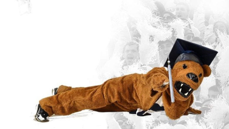 Nittany Lion mascot wearing a mortar board for graduation