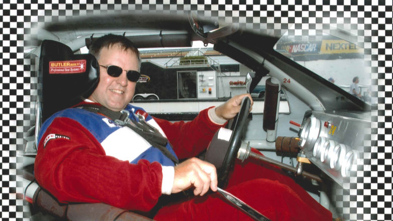Tony Shipula in a NASCAR car