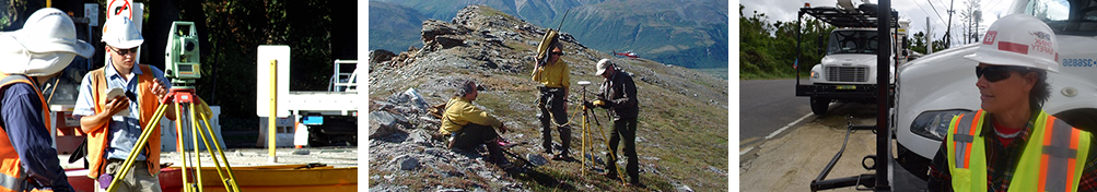 montage of professional surveyors in different environments