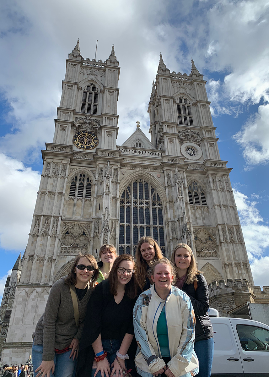 Penn State Wilkes-Barre honors students standing in front of Westminster Abbey